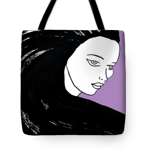 Tote Bag featuring the painting Majestic Lady J0715h Radient Orchid Pastel Painting 18-3224 B565a7 A985bb by Mas Art Studio