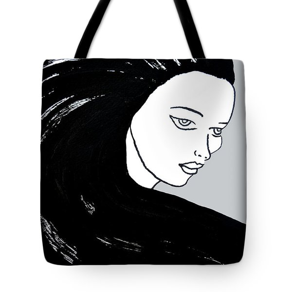 Tote Bag featuring the painting Majestic Lady J0715i Shadow Gray Pastel Painting 16-1509 Bba5a0 C6cacc by Mas Art Studio