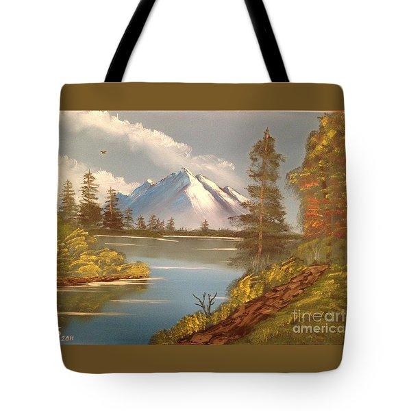 Majestic Mountain Lake Tote Bag by Tim Blankenship