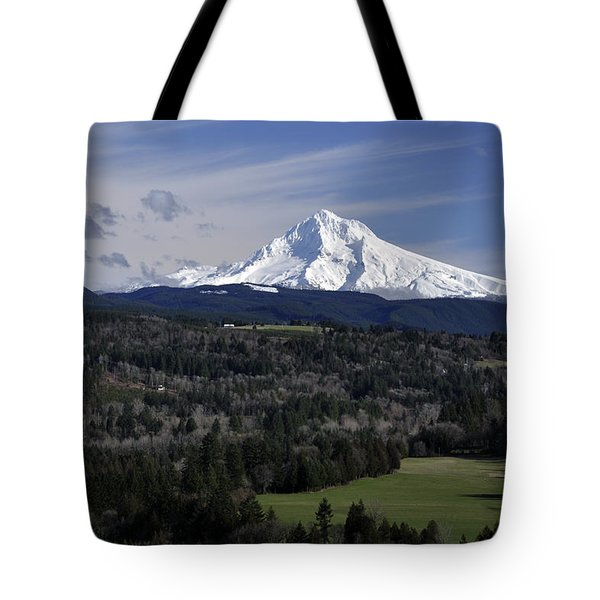 Tote Bag featuring the photograph Majestic Mt Hood by Jim Walls PhotoArtist