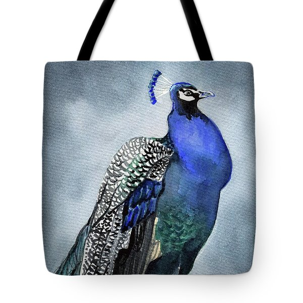 Tote Bag featuring the painting Majestic Peacock by Dora Hathazi Mendes
