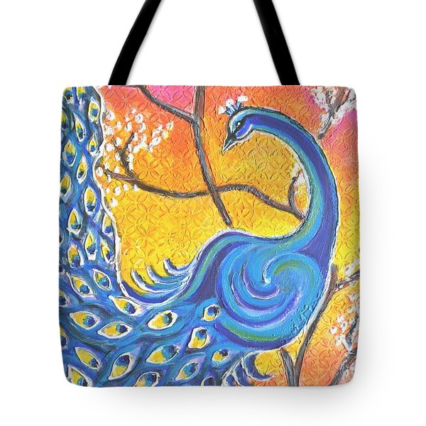 Majestic Peacock Colorful Textured Art Tote Bag