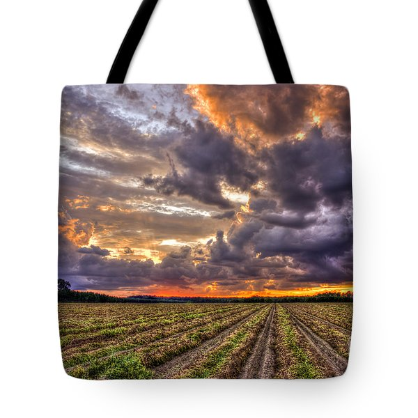 Tote Bag featuring the photograph Majestic Peanut Harvest Sunset Art by Reid Callaway