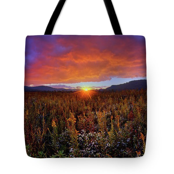 Majestic Sunset Over Cades Cove In Smoky Mountains National Park Tote Bag
