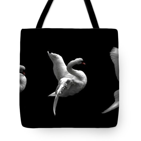 Majestic Swan Triptych Tote Bag