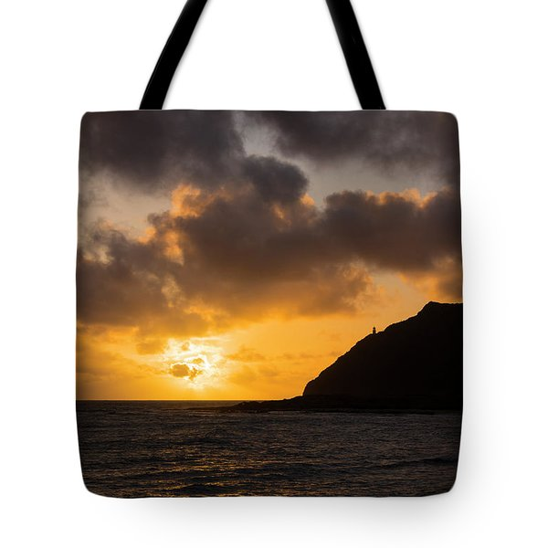 Makapuu Point Lighthouse Sunrise Tote Bag by Brian Harig