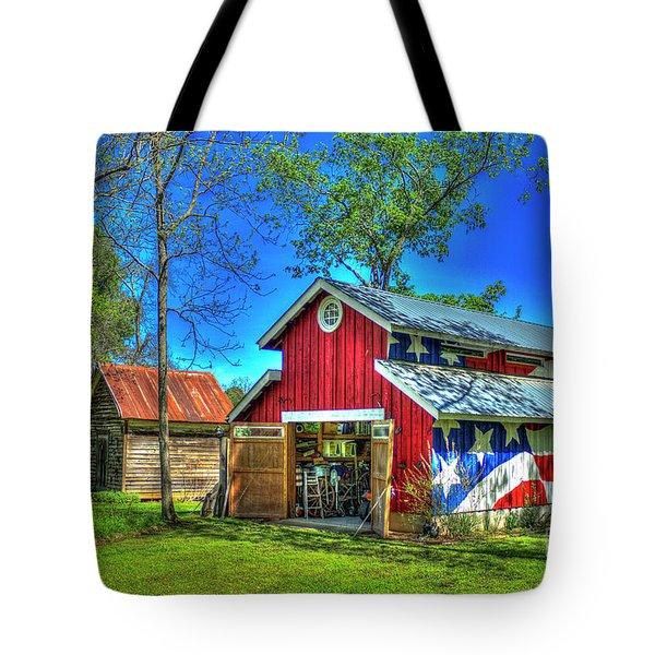 Tote Bag featuring the photograph Make America Great Again Barn American Flag Art by Reid Callaway