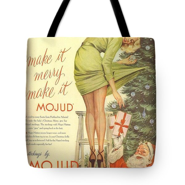 Tote Bag featuring the digital art Make It Merry...make It Mojud by Reinvintaged