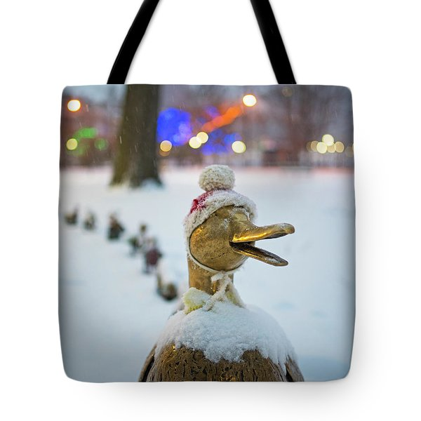 Make Way For Ducklings Winter Hats Boston Public Garden Christmas Tote Bag