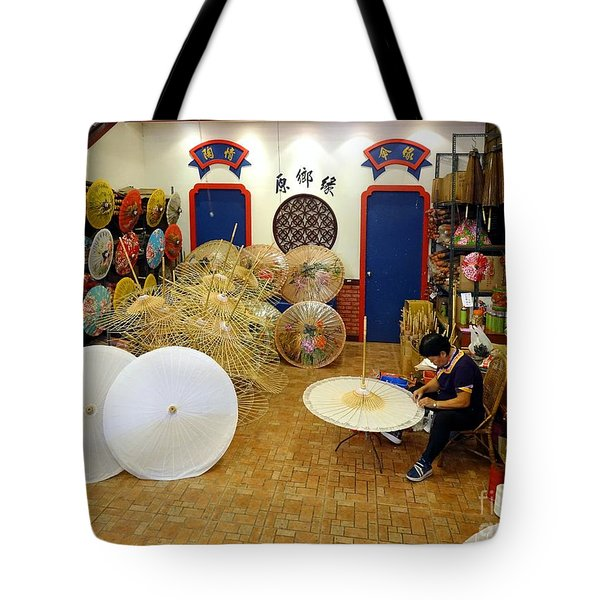 Tote Bag featuring the photograph Making Chinese Paper Umbrellas by Yali Shi