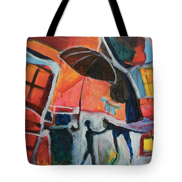 Tote Bag featuring the painting Making Friends Under The Umbrella by Susan Stone