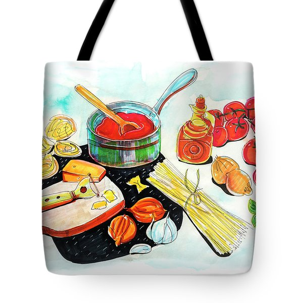 Tote Bag featuring the drawing making Italian tomato's sauce by Ariadna De Raadt