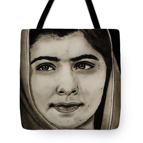 Malala Yousafzai- Teen Hero Tote Bag by Michael Cross