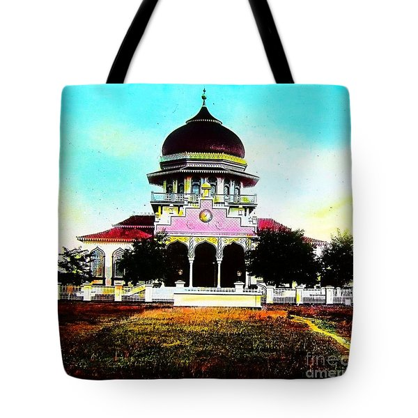 Malay Mosque Singapore Circa 1910 Tote Bag by Peter Gumaer Ogden