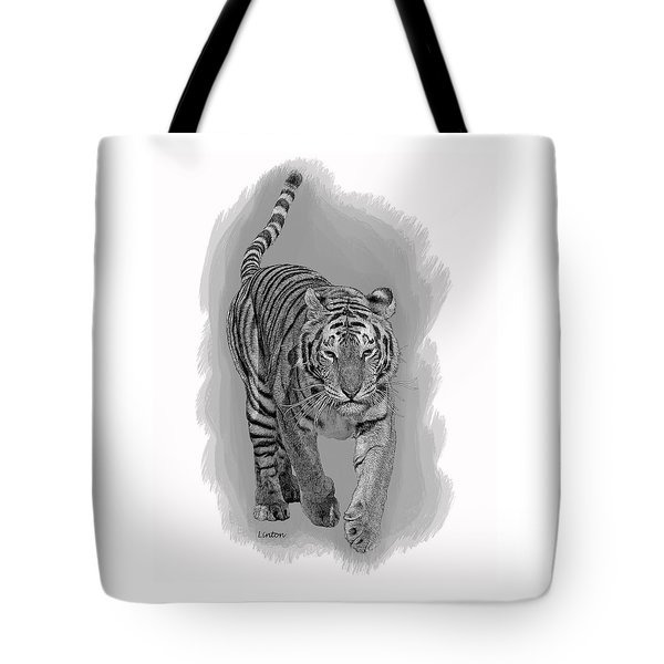 Tote Bag featuring the digital art Malaysian Tiger by Larry Linton
