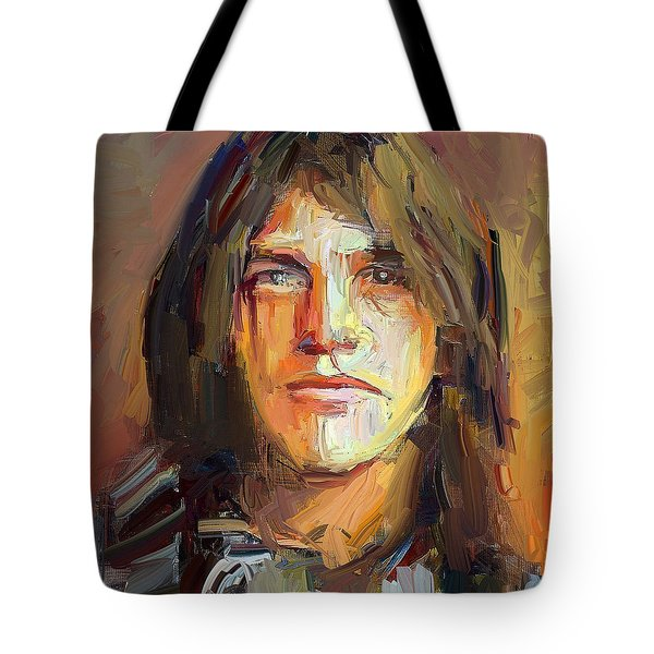 Malcolm Young Acdc Tribute Portrait Tote Bag