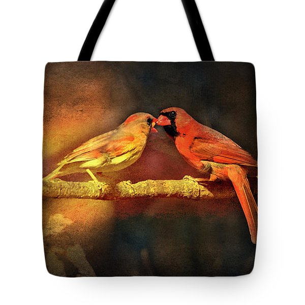 Male And Female Cardinal Tote Bag by Diane Giurco