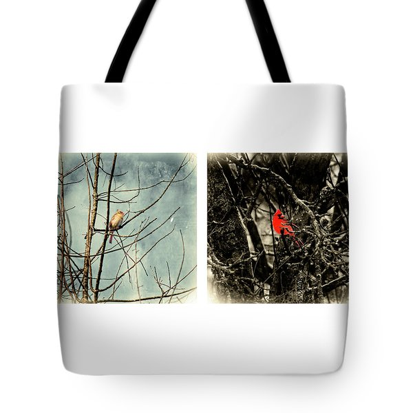 Male And Female Cardinal Tote Bag