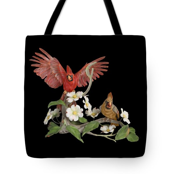 Male And Female Cardinals  Tote Bag by Walter Colvin