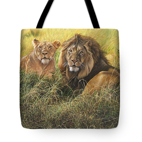 Male And Female Lion Tote Bag