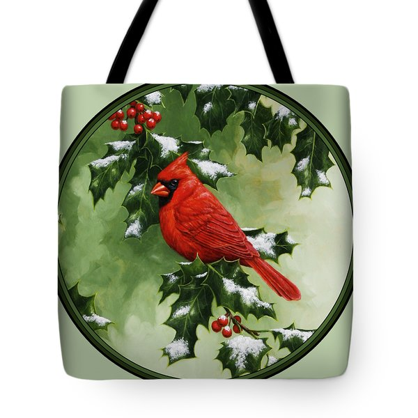 Male Cardinal And Holly Phone Case Tote Bag