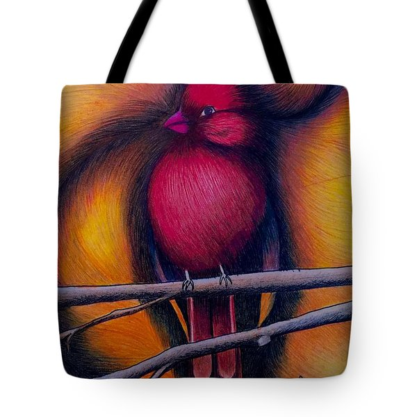 Tote Bag featuring the painting Male Cardinal by Fanny Diaz