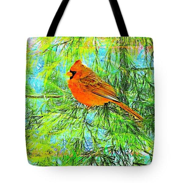 Male Cardinal In Juniper Tree Tote Bag