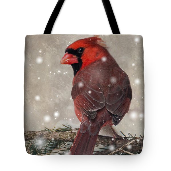 Male Cardinal In Snow #1 Tote Bag