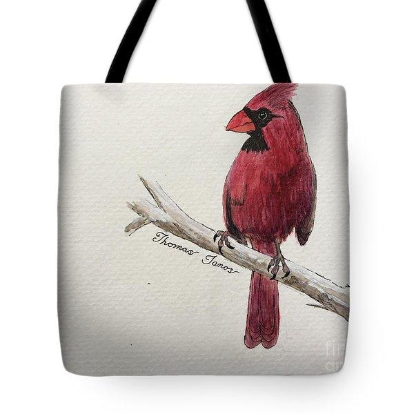 Male Cardinal In Winter Tote Bag