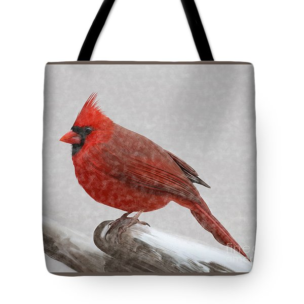 Male Cardinal In Snow Tote Bag by Rand Herron