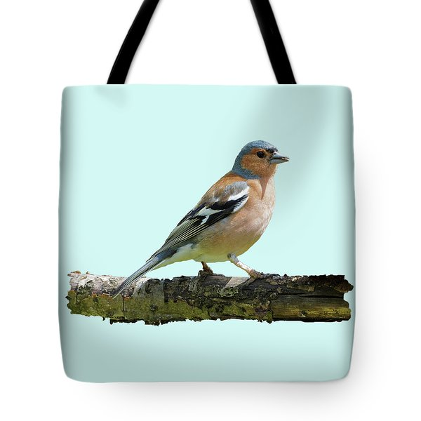 Male Chaffinch, Blue Background Tote Bag