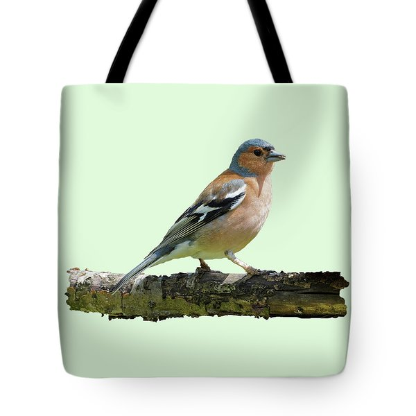 Male Chaffinch, Green Background Tote Bag