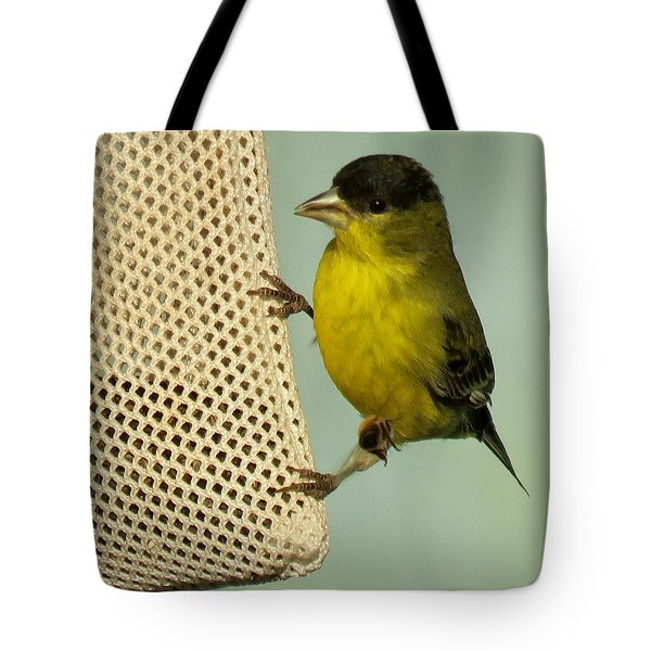 Male Goldfinch On Sock Feeder Tote Bag