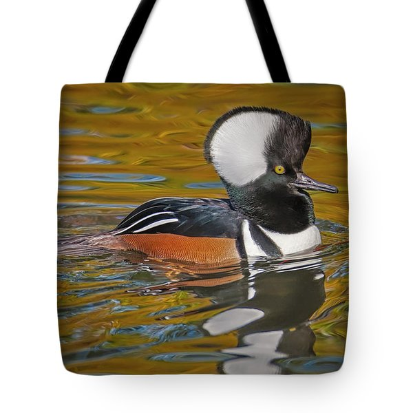 Tote Bag featuring the photograph Male Hooded Merganser Duck by Susan Candelario