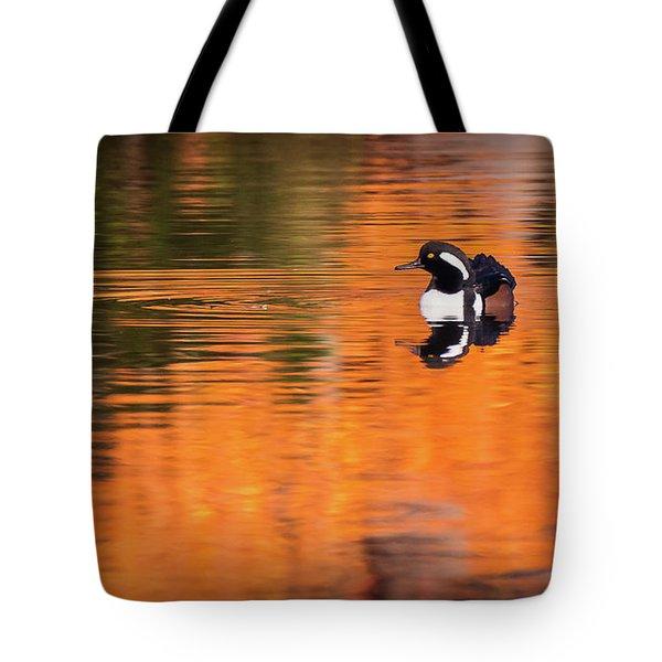 Male Hooded Merganser In Autumn Tote Bag