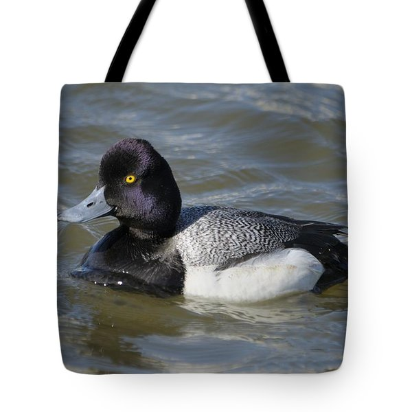 Tote Bag featuring the photograph Male Lesser Scaup On The Water by Bradford Martin