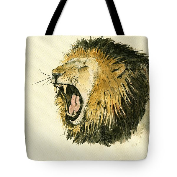 Male Lion Head Painting Tote Bag