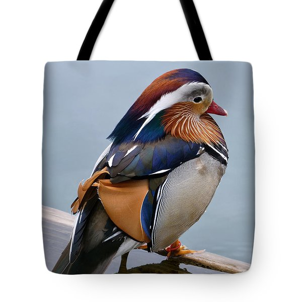 Male Mandarin Duck Perching On Submerged Plank Tote Bag
