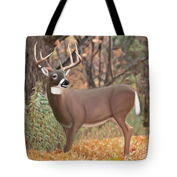 Male Mule Deer Painting Tote Bag by Walter Colvin