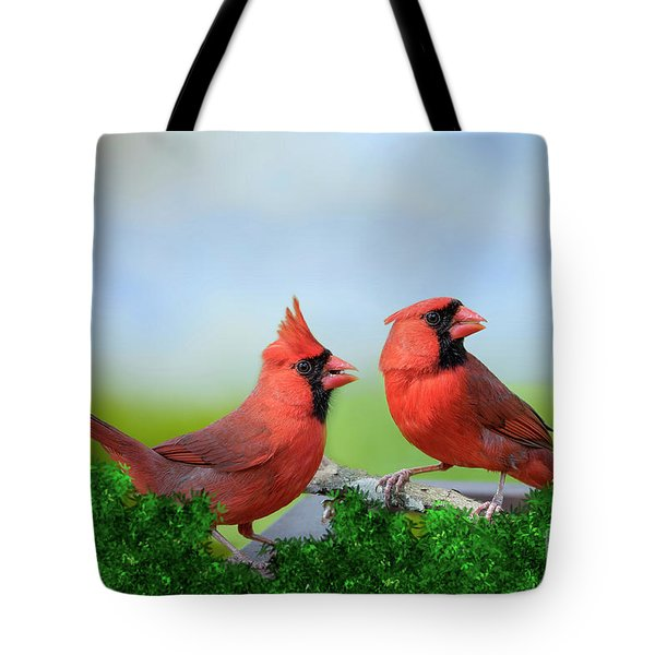 Male Northern Cardinals In Spring Tote Bag by Bonnie Barry