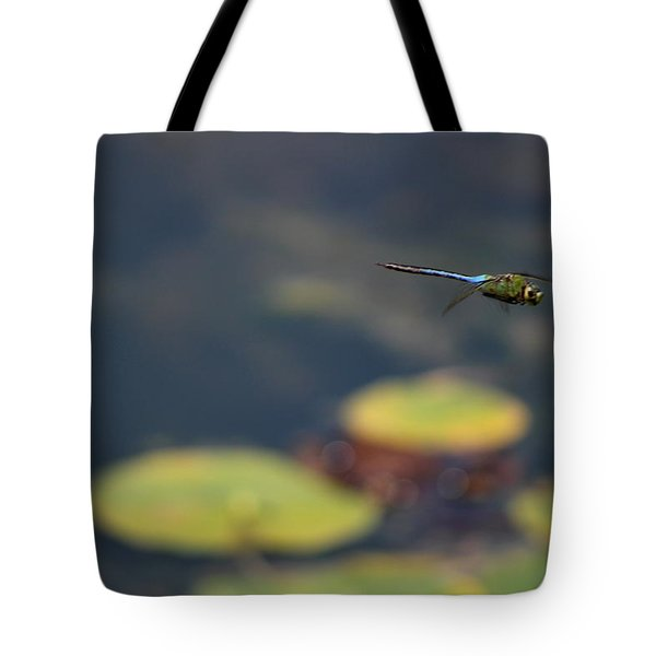 Malibu Blue Dragonfly Flying Over Lotus Pond Tote Bag