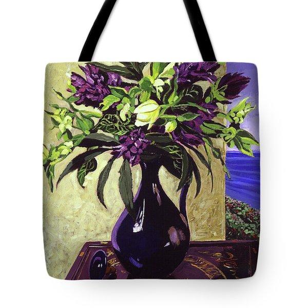 Malibu Hyacinths In Deep Blue Blue  Ceramic Tote Bag