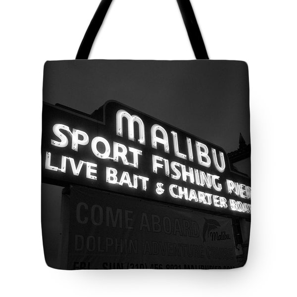Malibu Pier Sign In Bw Tote Bag