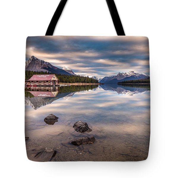 Maligne Lake Boat House Sunrise Tote Bag