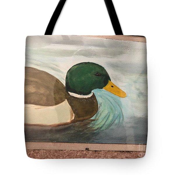 Tote Bag featuring the painting Mallard by Donald Paczynski