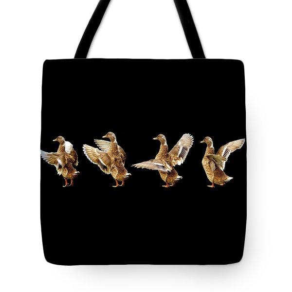 Mallard Duck Stretching Her Wings Tote Bag