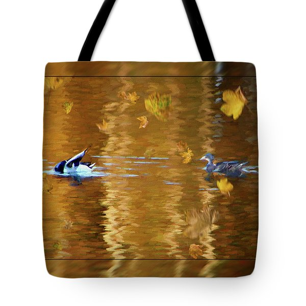Mallard Ducks On Magnolia Pond - Painted Tote Bag