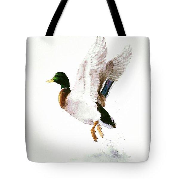 Mallard Flying Away Watercolor Tote Bag