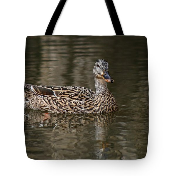 Tote Bag featuring the photograph Mallard Hen by Elaine Malott
