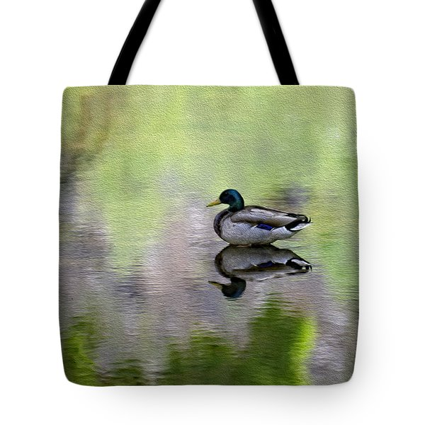 Tote Bag featuring the photograph Mallard In Mountain Water by Mark Myhaver